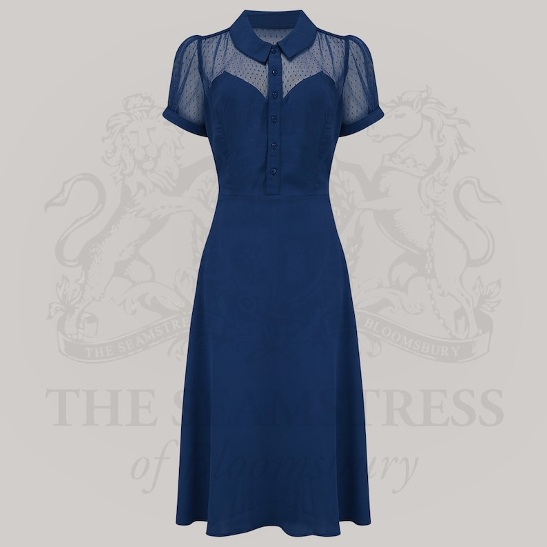 Vintage Style Dresses | Vintage Inspired Dresses Florance Dress in Navy by The Seamstress of Bloomsbury | Authentic Vintage 1940s Style $113.38 AT vintagedancer.com