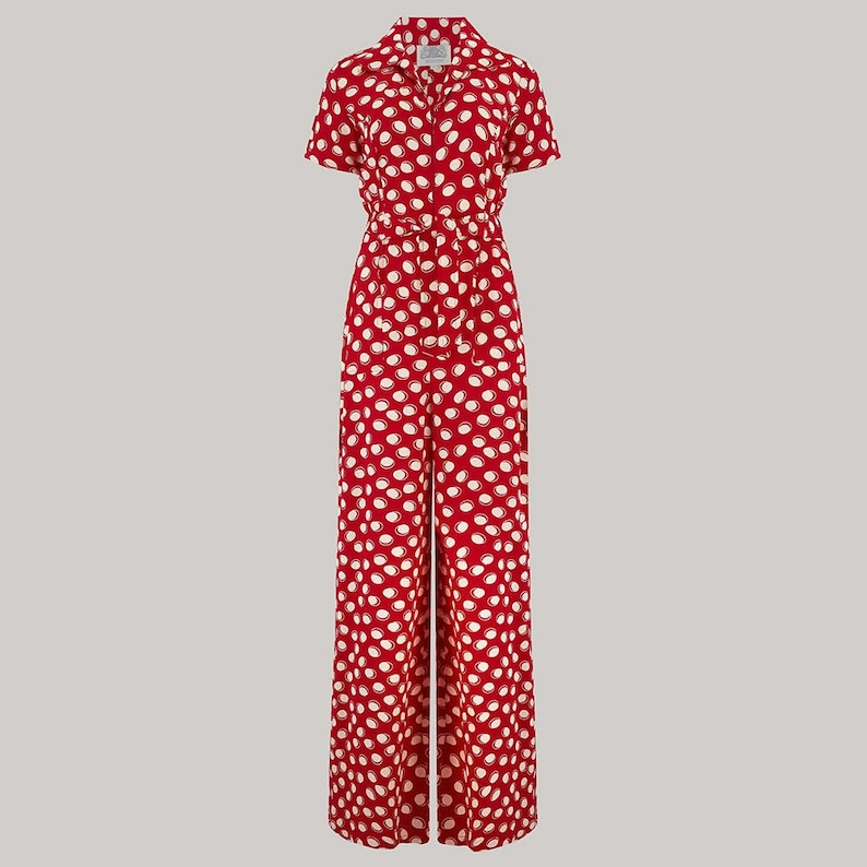 Vintage Overalls 1910s -1950s History & Shop Overalls Lauren Siren Suit in Red Moonshine Polka Dot by The Seamstress of Bloomsbury | Authentic Vintage 1940s Style $128.32 AT vintagedancer.com