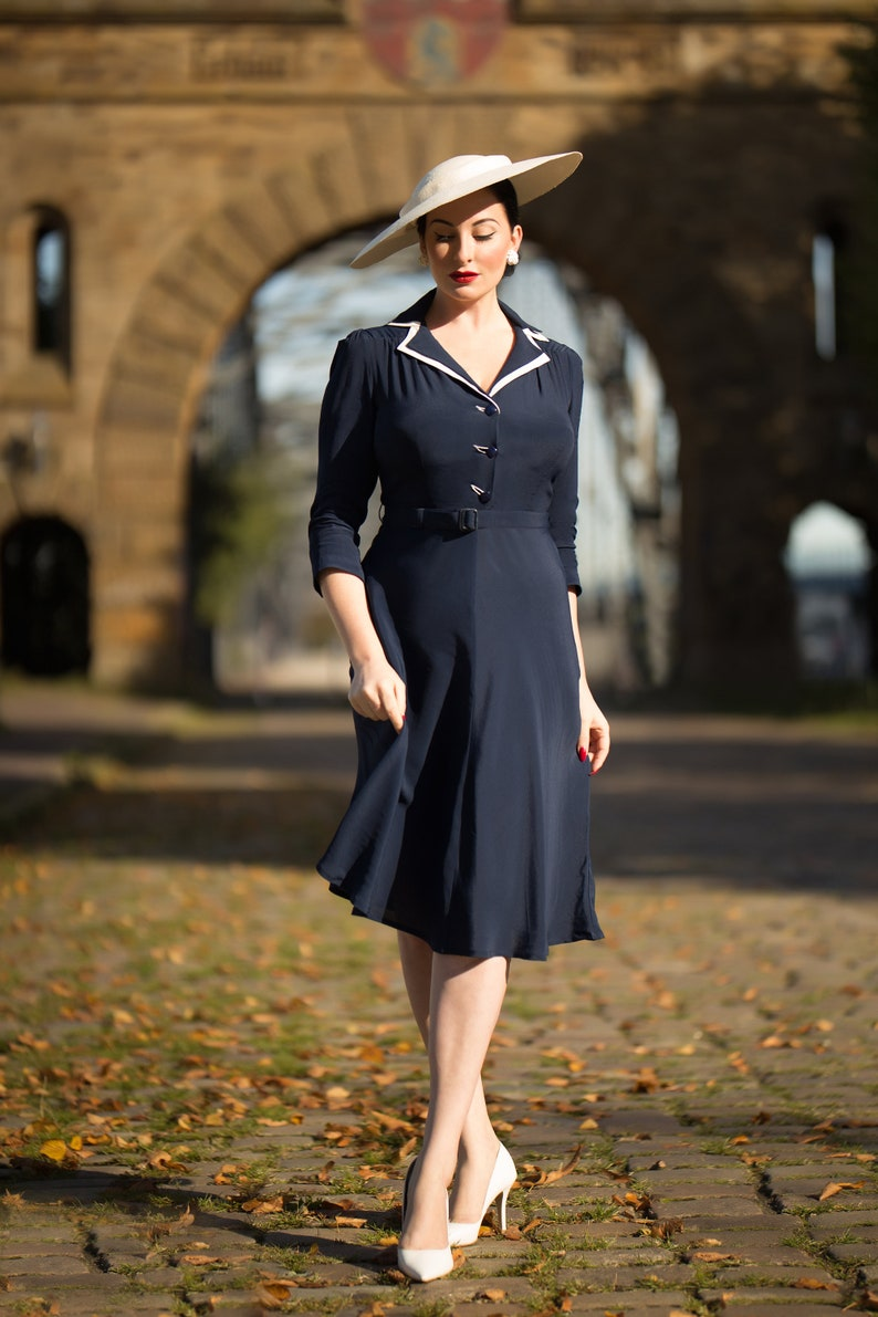 1940s Dresses | 40s Dress, Swing Dress Lisa-Mae Shirtdress in French Navy by The Seamstress of Bloomsbury | Authentic 1940s Style Designs $119.27 AT vintagedancer.com