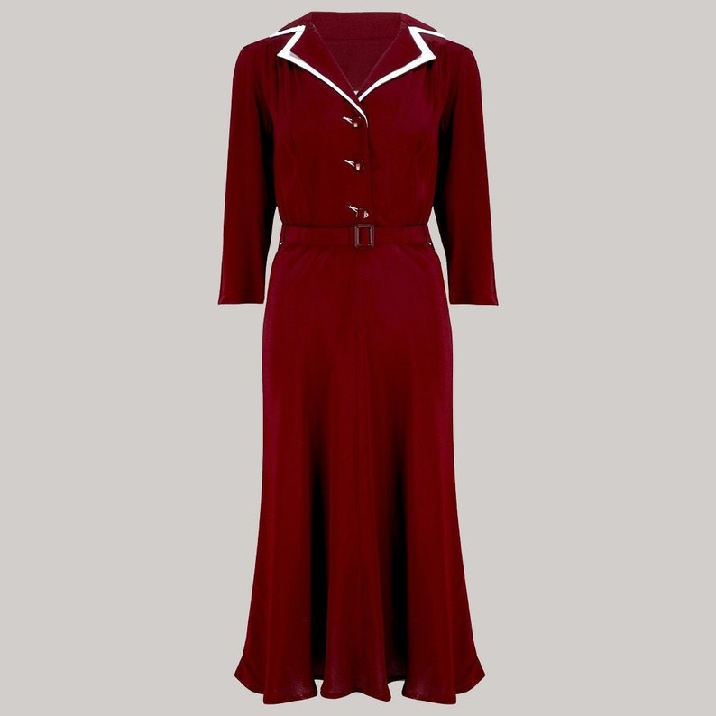 Vintage Shirtwaist Dress History Lisa-Mae Shirtdress in Wine by The Seamstress of Bloomsbury | Authentic 1940s Style Designs $121.00 AT vintagedancer.com