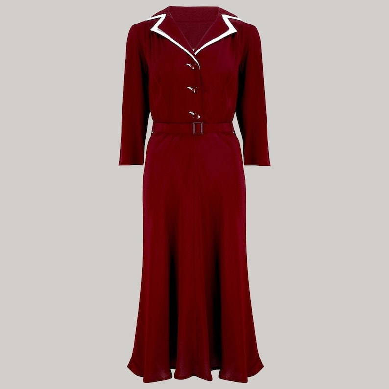 1940s Dress Styles Lisa-Mae Shirtdress in Wine by The Seamstress of Bloomsbury | Authentic 1940s Style Designs $121.00 AT vintagedancer.com