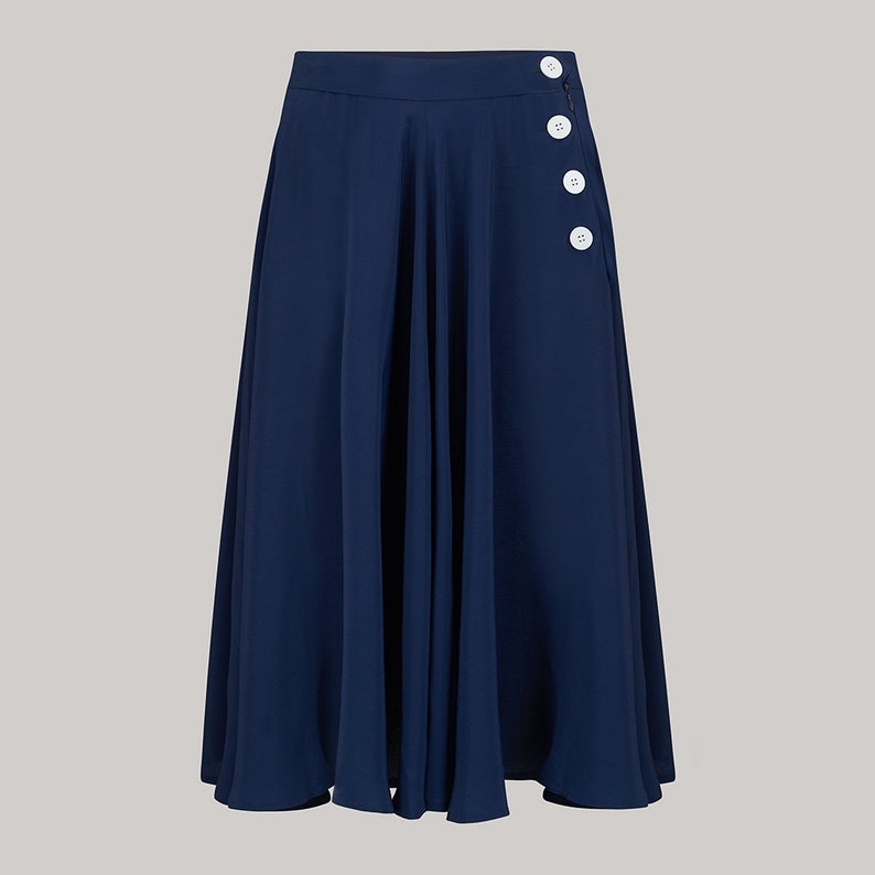 1940s Teenage Fashion: Girls Isabelle Skirt in Navy by The Seamstress of Bloomsbury | Authentic Vintage 1940s Style $67.00 AT vintagedancer.com