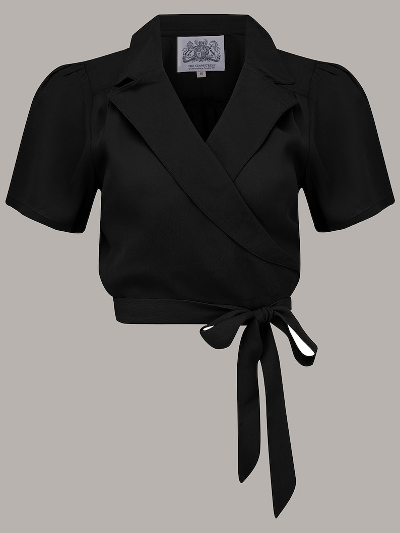 1940s Blouses and Tops Greta Blouse in Black by The Seamstress of Bloomsbury | Authentic Vintage 1940s Style $56.23 AT vintagedancer.com