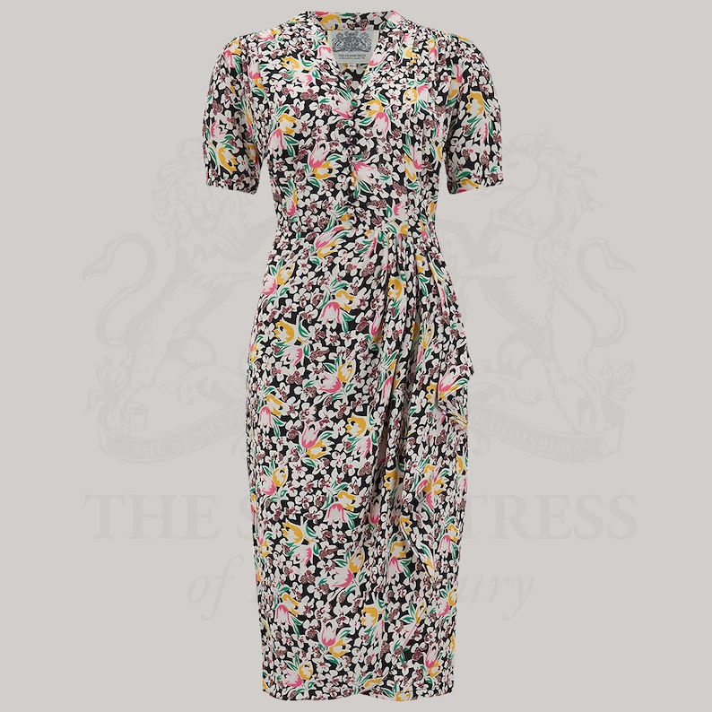 Vintage Style Dresses | Vintage Inspired Dresses Mabel Dress in Tulip Print by The Seamstress of Bloomsbury | Authentic Vintage 1940s Style $114.46 AT vintagedancer.com