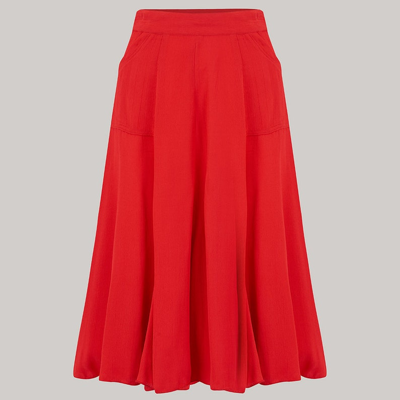 1940s Style Skirts- Vintage High Waisted Skirts Fit & Flare Skirt in 40s Red by The Seamstress of Bloomsbury | Authentic 1940s Style Clothing $79.07 AT vintagedancer.com