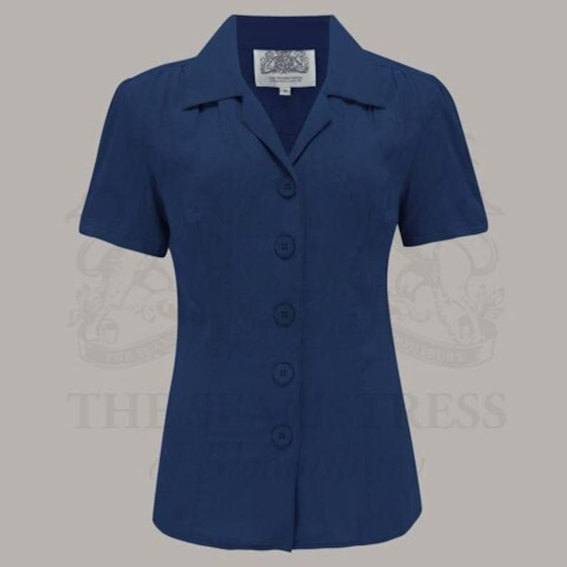 1940s Blouses, Tops, Shirts, Knitwear Grace Blouse in Navy by The Seamstress of Bloomsbury | Authentic Vintage 1940s Style $55.97 AT vintagedancer.com