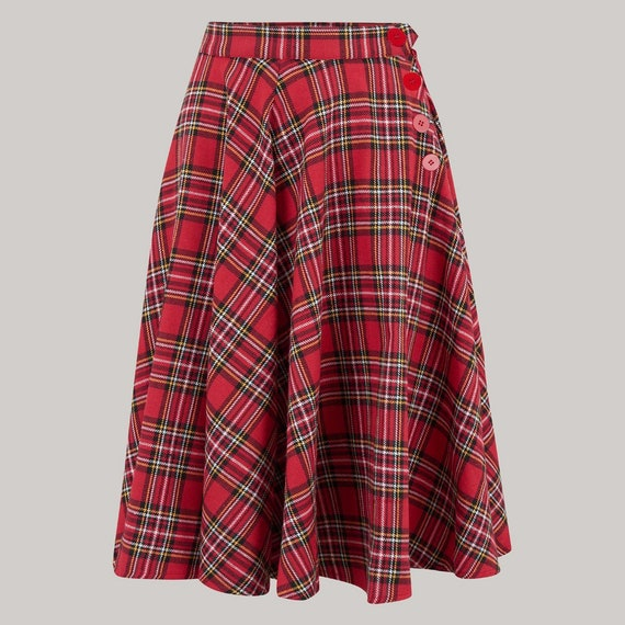 1940s Dresses and Clothing UK | 40s Shoes UK Isabelle Skirt in Red Check Tartan by The Seamstress of Bloomsbury | Authentic Vintage 1940s Style $64.78 AT vintagedancer.com