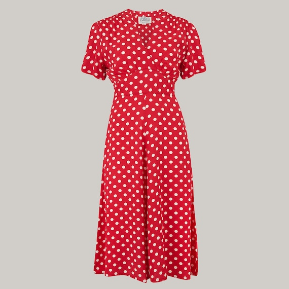 1940s Fashion Advice for Tall Women Dolores Dress in Red Spot by The Seamstress of Bloomsbury | Authentic Vintage 1940s Style $104.44 AT vintagedancer.com