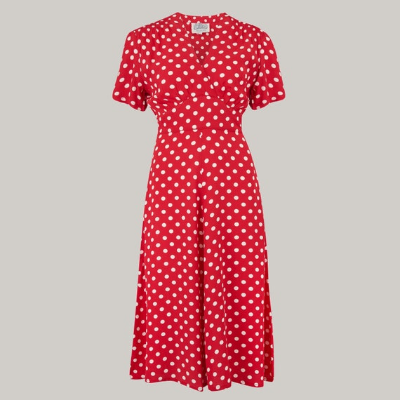 1940s Fashion Advice for Short Women Dolores Dress in Red Spot by The Seamstress of Bloomsbury | Authentic Vintage 1940s Style $104.44 AT vintagedancer.com
