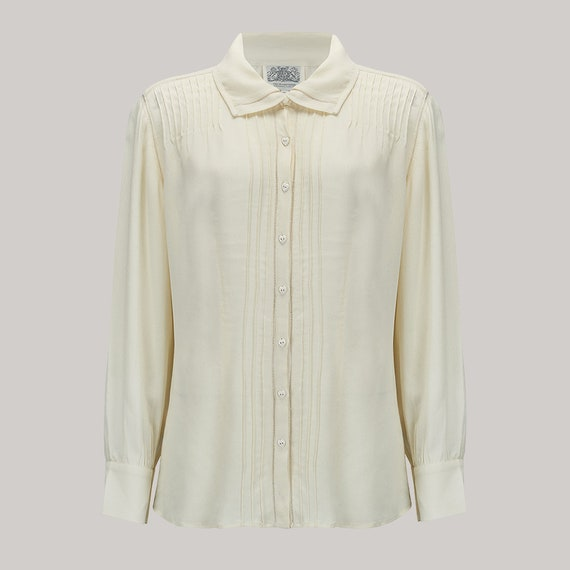 1940s Blouses and Tops Alice Blouse in Cream by The Seamstress of Bloomsbury | Authentic Vintage 1940s Style $52.37 AT vintagedancer.com