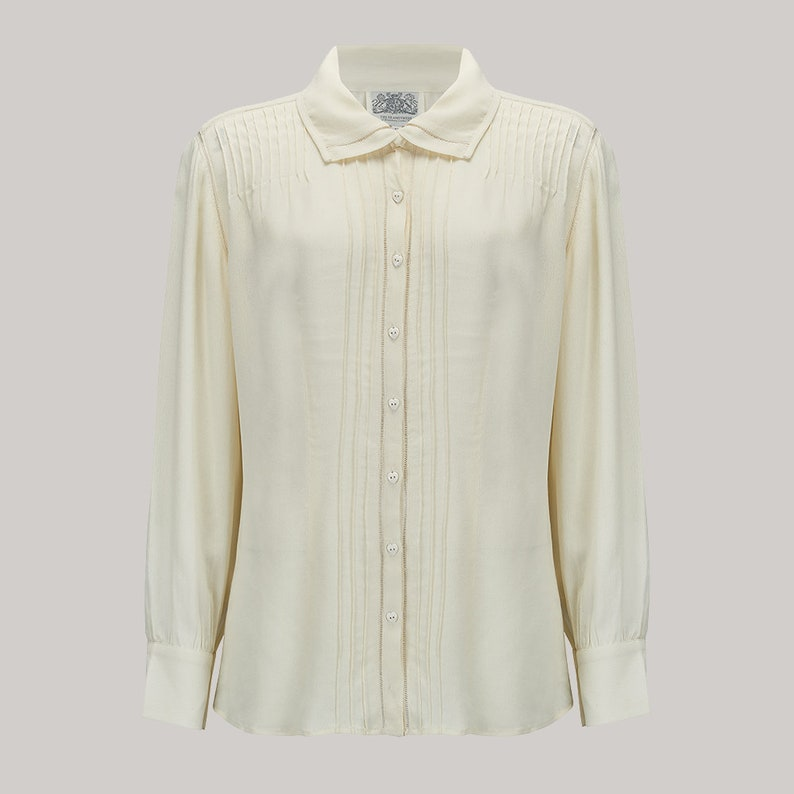 1940s Blouses and Tops Alice Blouse in Cream by The Seamstress of Bloomsbury | Authentic Vintage 1940s Style $52.26 AT vintagedancer.com