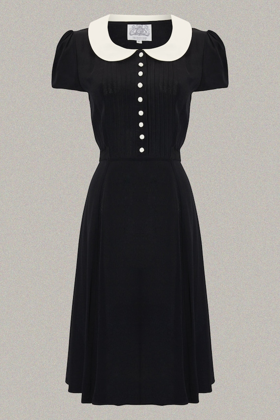 Vintage Tea Dresses, Floral Tea Dresses, Tea Length Dresses  Dorothy Dress in Black with Ivory Collar by The Seamstress of Bloomsbury | Authentic Vintage 1940s Style $104.44 AT vintagedancer.com