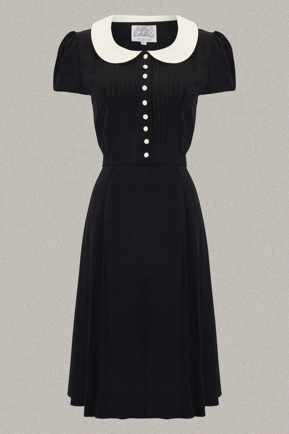 1940s Fashion Advice for Short Women  Dorothy Dress in Black with Ivory Collar by The Seamstress of Bloomsbury | Authentic Vintage 1940s Style $104.44 AT vintagedancer.com