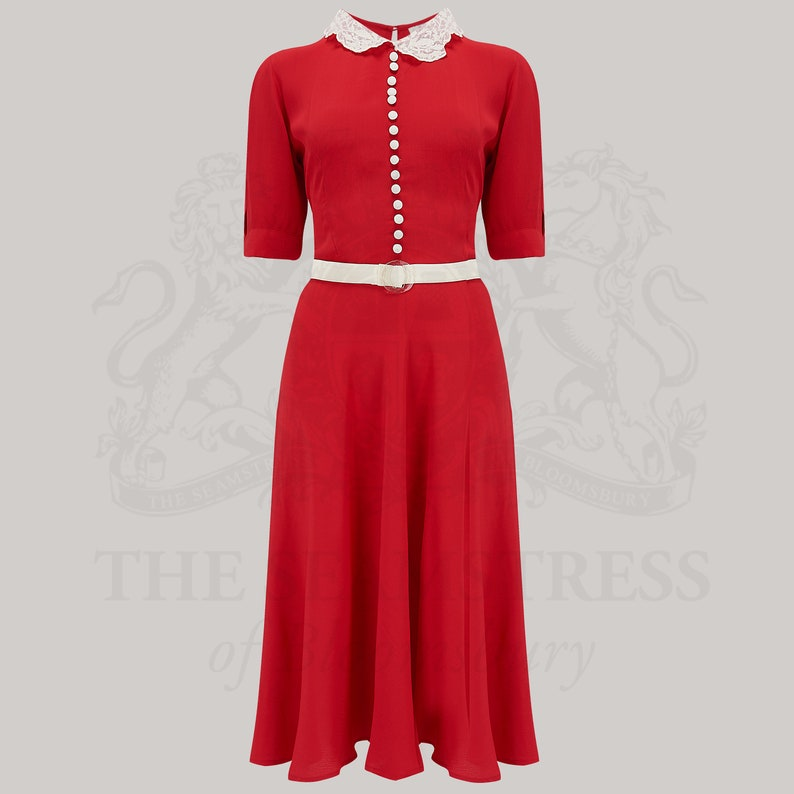1940s Dress Styles Lace Collar Dress in Red by The Seamstress of Bloomsbury | Authentic Vintage 1940s Style $113.90 AT vintagedancer.com