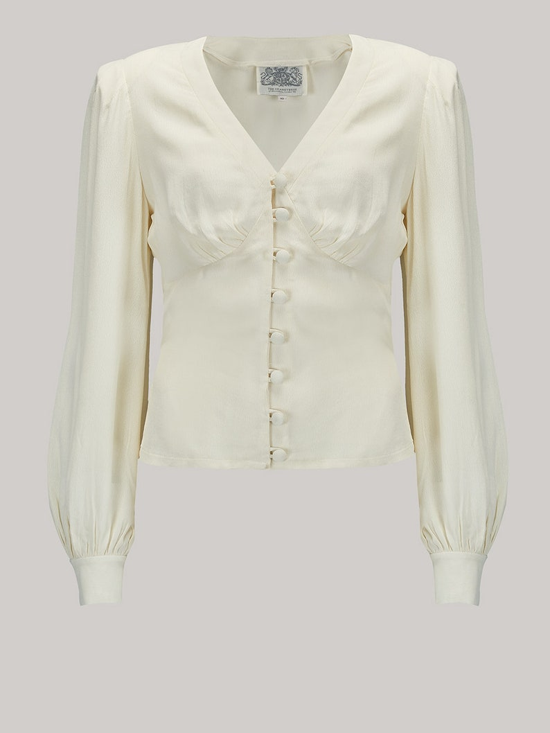 1940s Blouses and Tops Jay Blouse in Cream by The Seamstress of Bloomsbury | Authentic Vintage 1940s Style $56.23 AT vintagedancer.com