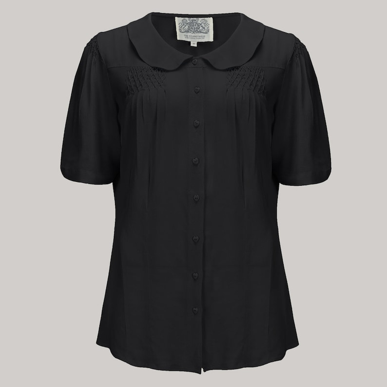 1940s Blouses and Tops Harriet Blouse in Black by The Seamstress of Bloomsbury | Authentic Vintage 1940s Style $53.00 AT vintagedancer.com