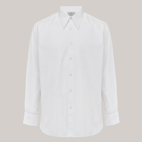 Vintage Shirts – Mens – Retro Shirts Mens Spearpoint Collar Shirt by The Seamstress of Bloomsbury | Authentic 1940s Vintage Inspired Clothing $45.00 AT vintagedancer.com