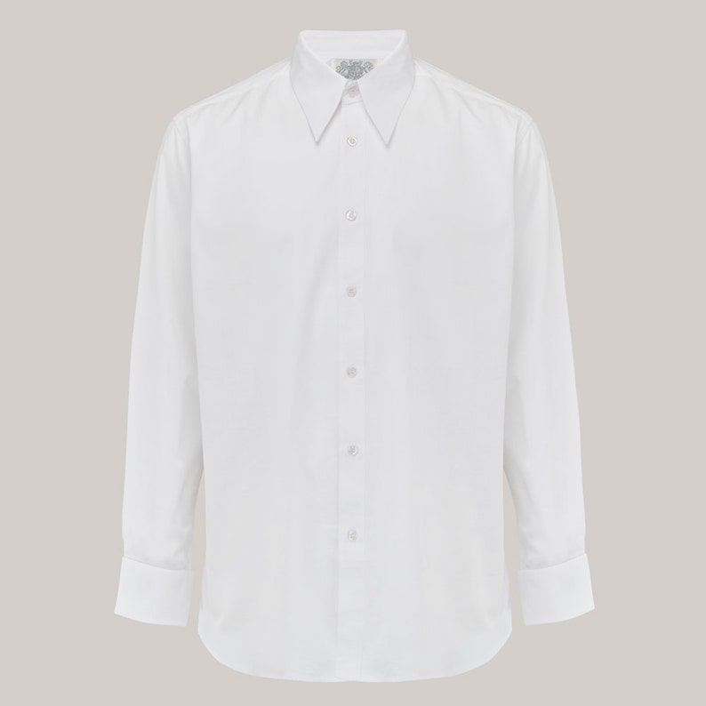 Easy 1940s Men's Fashion Guide Mens Spearpoint Collar Shirt by The Seamstress of Bloomsbury | Authentic 1940s Vintage Inspired Clothing $61.34 AT vintagedancer.com