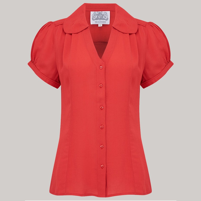 Authentic Vintage 1940/'s Style Judy Blouse in 40/'s Red by The Seamstress of Bloomsbury