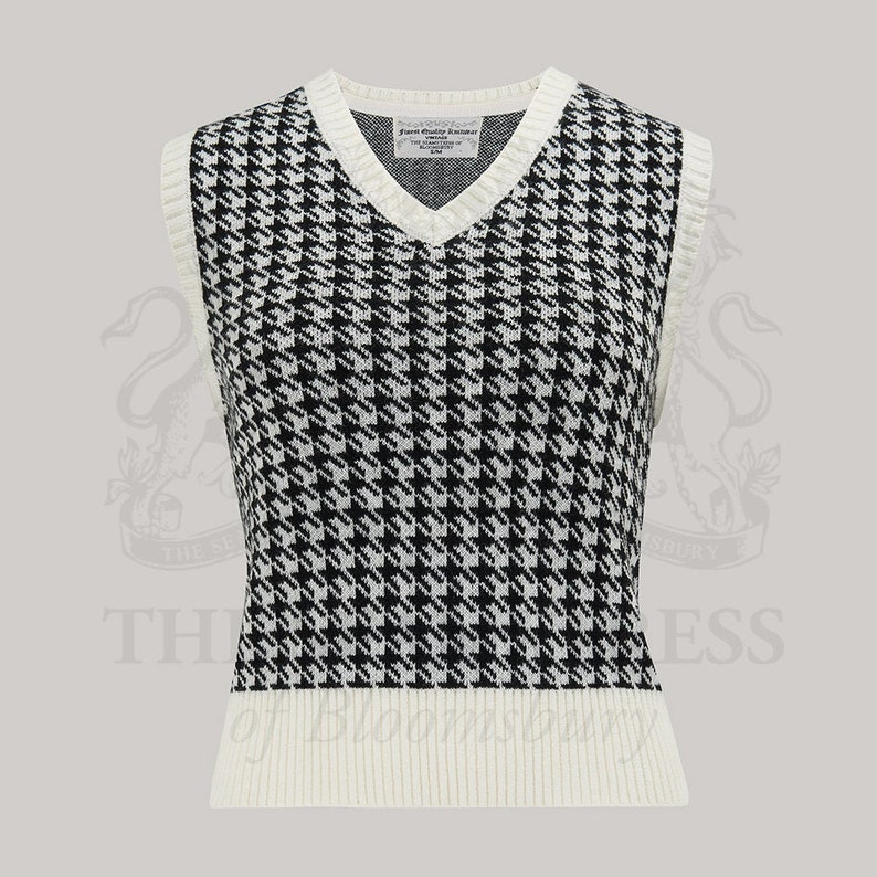 Vintage Sweaters & Cardigans: 1940s, 1950s, 1960s Houndstooth Slipover by The Seamstress of Bloomsbury | Authentic Vintage 1940s Style $41.78 AT vintagedancer.com