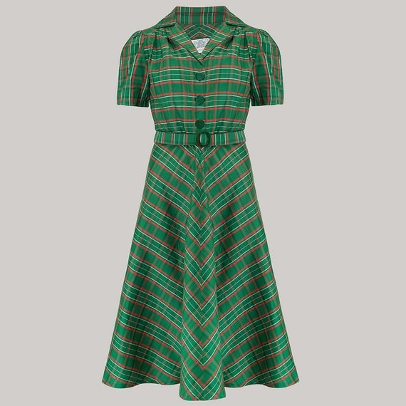 1940s Dresses and Clothing UK | 40s Shoes UK Lisa Dress in Green Check Taffeta by The Seamstress of Bloomsbury | Authentic Vintage 1940s Style $104.44 AT vintagedancer.com