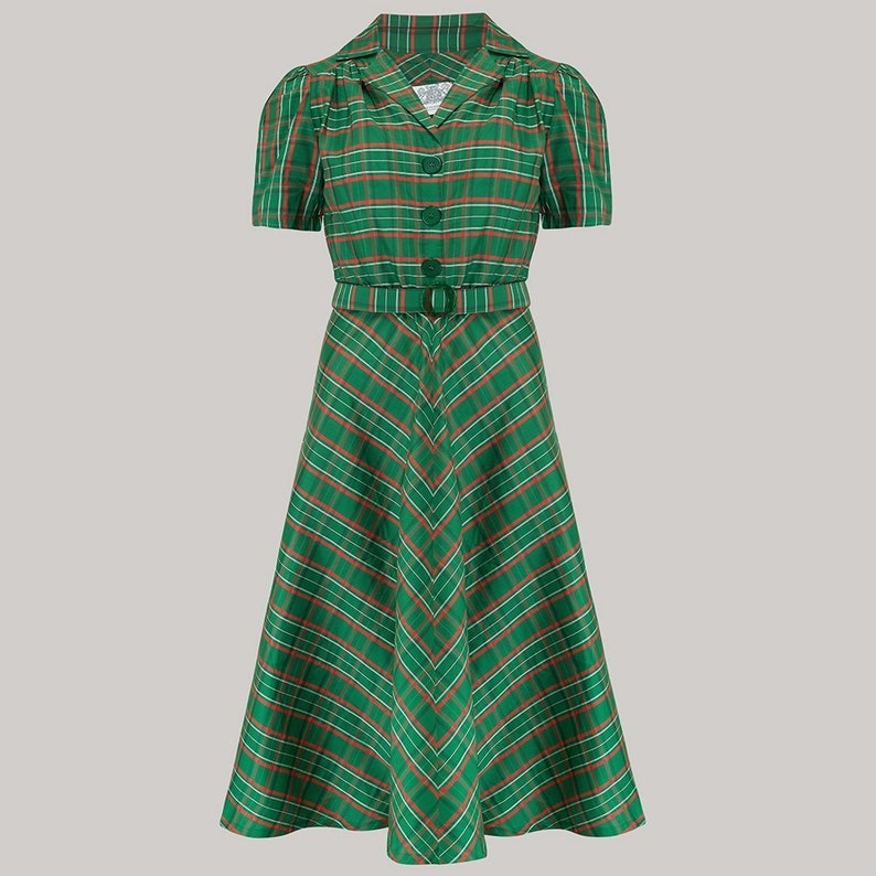 1940s Dress Styles Lisa Dress in Green Check Taffeta by The Seamstress of Bloomsbury | Authentic Vintage 1940s Style $107.00 AT vintagedancer.com