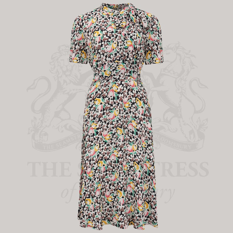 Vintage Style Dresses | Vintage Inspired Dresses Kathy Dress in Tulip Print by The Seamstress of Bloomsbury | Authentic Vintage 1940s Style $114.46 AT vintagedancer.com