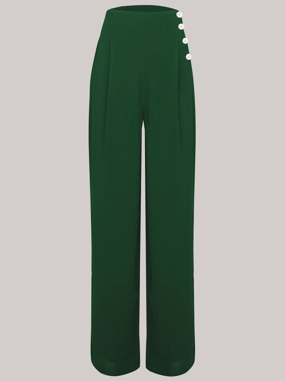 1940s Swing Pants & Sailor Trousers- Wide Leg, High Waist Audrey Trousers in Vintage Green by The Seamstress of Bloomsbury | Authentic Vintage 1940s Style $64.78 AT vintagedancer.com