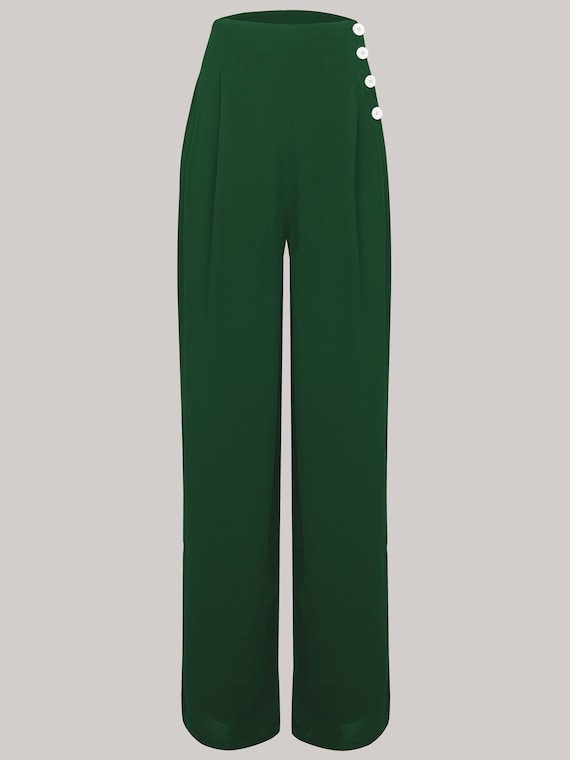 1940s Swing Pants & Sailor Trousers- Wide Leg, High Waist image 0 image 1 image 2 Audrey Trousers in Vintage Green by The Seamstress of Bloomsbury | Authentic Vintage 1940s Style $64.78 AT vintagedancer.com