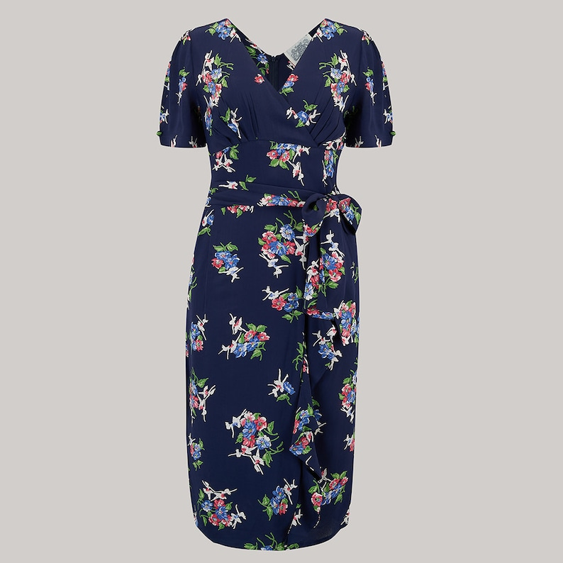 Vintage Style Dresses | Vintage Inspired Dresses Lilian Dress in Navy Floral by The Seamstress of Bloomsbury | Authentic Vintage 1940s Style $128.95 AT vintagedancer.com