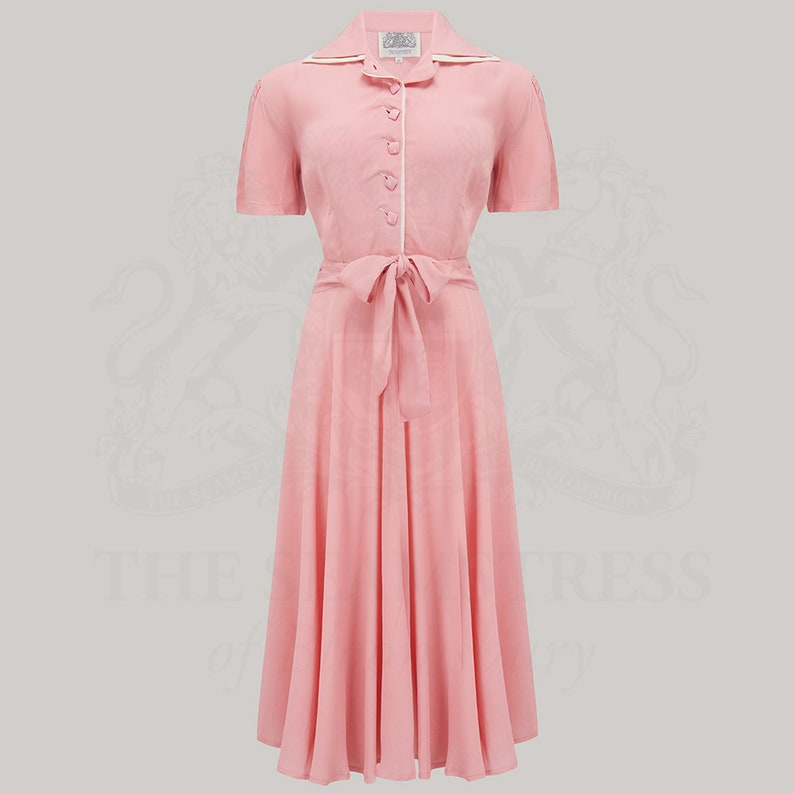 Vintage Style Dresses | Vintage Inspired Dresses Mae Dress in Blossom Pink by The Seamstress of Bloomsbury | Authentic Vintage 1940s Style $114.46 AT vintagedancer.com