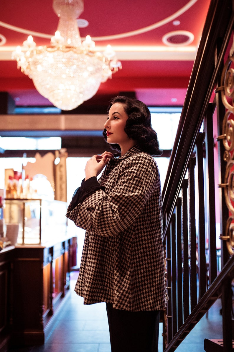 1950s Coats and Jackets History Swing Jacket in Houndstooth Check by The Seamstress of Bloomsbury | Authentic Vintage 1940s Style $169.00 AT vintagedancer.com