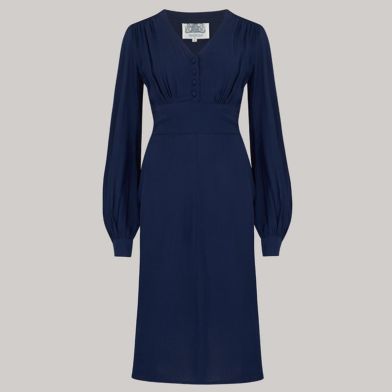 1940s Dresses | 40s Dress, Swing Dress Ava Dress in Solid Navy by The Seamstress of Bloomsbury | Classic 1940s Authentic Vintage Style $119.27 AT vintagedancer.com