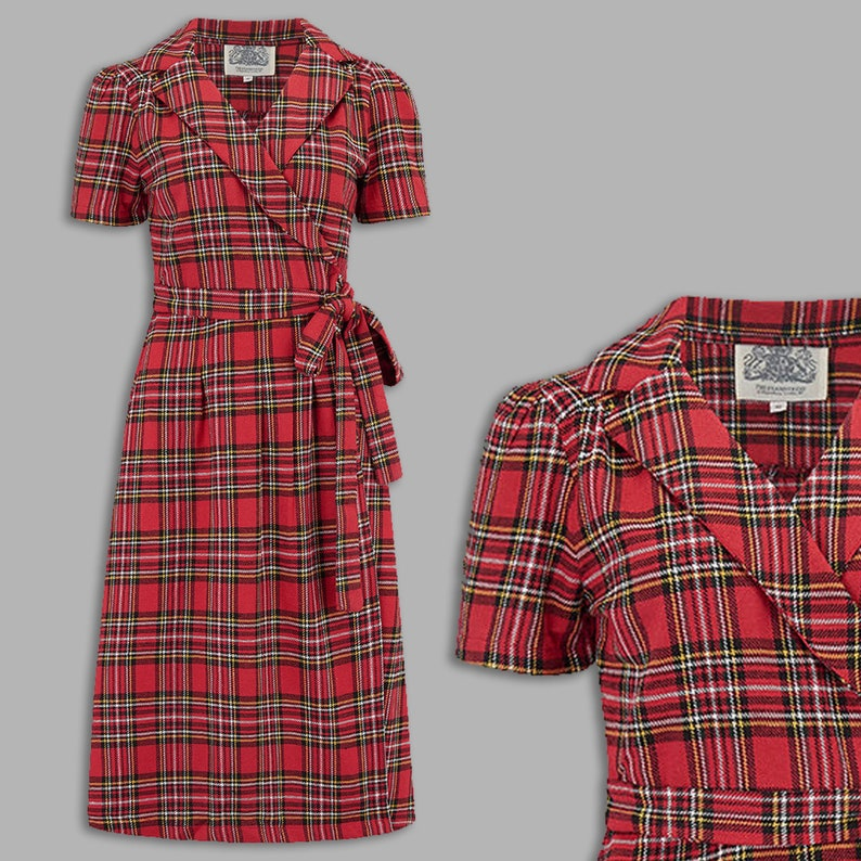 1940s Dresses | 40s Dress, Swing Dress, Tea Dresses Peggy Wrap Dress in Traditional Cotton Tartan by The Seamstress of Bloomsbury | 1940s Authentic Vintage Style Clothing $107.00 AT vintagedancer.com