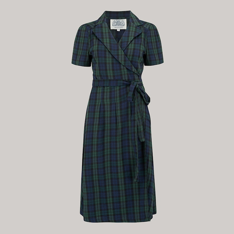 Vintage Inspired Dresses & Clothing UK Peggy Wrap Dress in Black Watch Tartan by The Seamstress of Bloomsbury | Authentic Vintage 1940s Style $98.85 AT vintagedancer.com