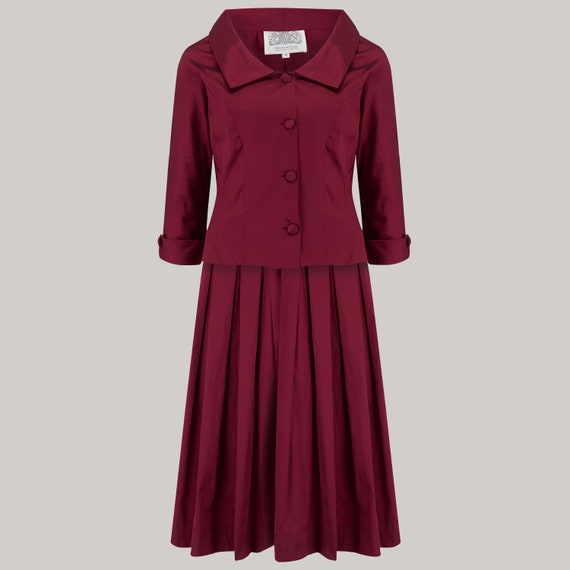 1940s Dress Styles Josie 2pc Suit in Wine by The Seamstress of Bloomsbury | 1940s Authentic Vintage Inspired Clothing $170.35 AT vintagedancer.com
