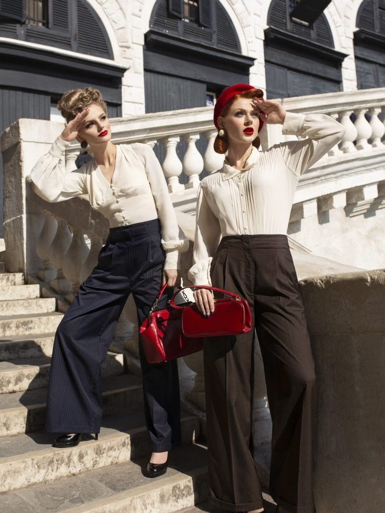 1940s Swing Pants & Sailor Trousers- Wide Leg, High Waist Tailored Trousers High Waisted Womens Trousers by The Seamstress of Bloomsbury 1940s Authentic Vintage Style $80.47 AT vintagedancer.com