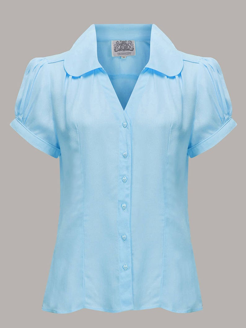 1940s Blouses, Tops, Shirts, Knitwear Judy Blouse in Powder Blue by The Seamstress of Bloomsbury | Authentic Vintage 1940s Style $55.97 AT vintagedancer.com