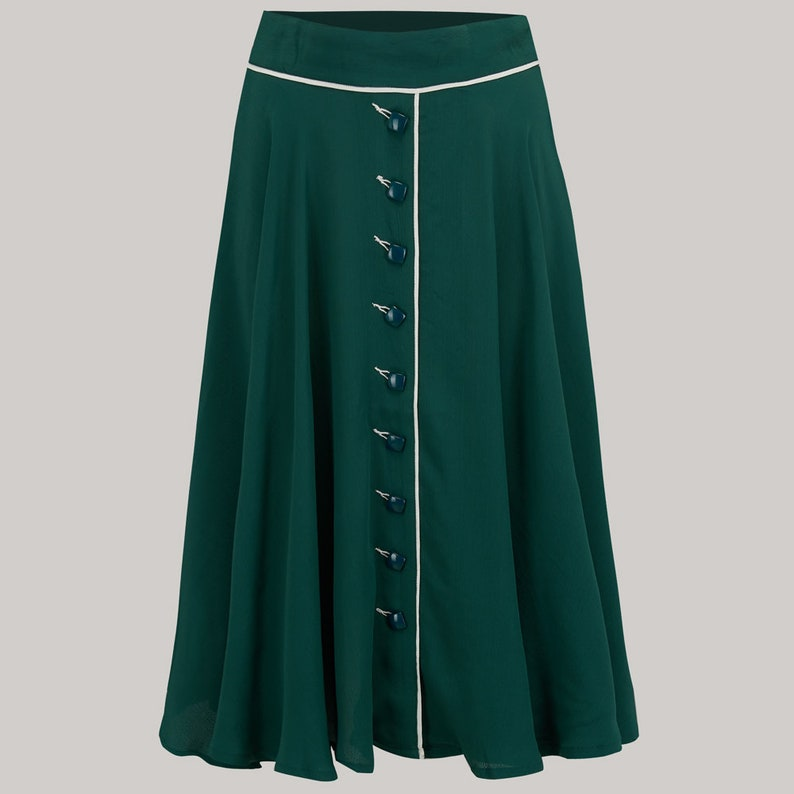 1940s Teenage Fashion: Girls Rita Skirt in Vintage Green by The Seamstress of Bloomsbury | Authentic Vintage 1940s Style $67.00 AT vintagedancer.com
