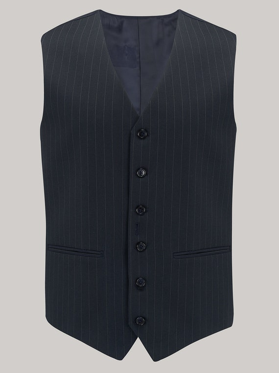 Men's Vintage Vests, Sweater Vests Mens 1940s Waistcoat in Black Stripe or Navy Stripe by The Seamstress of Bloomsbury | Authentic Vintage 1940s Style $110.00 AT vintagedancer.com