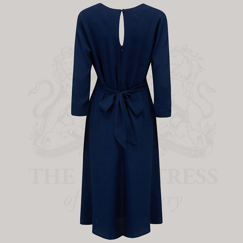 1940s Dresses   40s Dress, Swing Dress, Tea Dresses Joyce Dress in Solid Navy by The Seamstress of Bloomsbury   Authentic Vintage 1940s Style $127.73 AT vintagedancer.com
