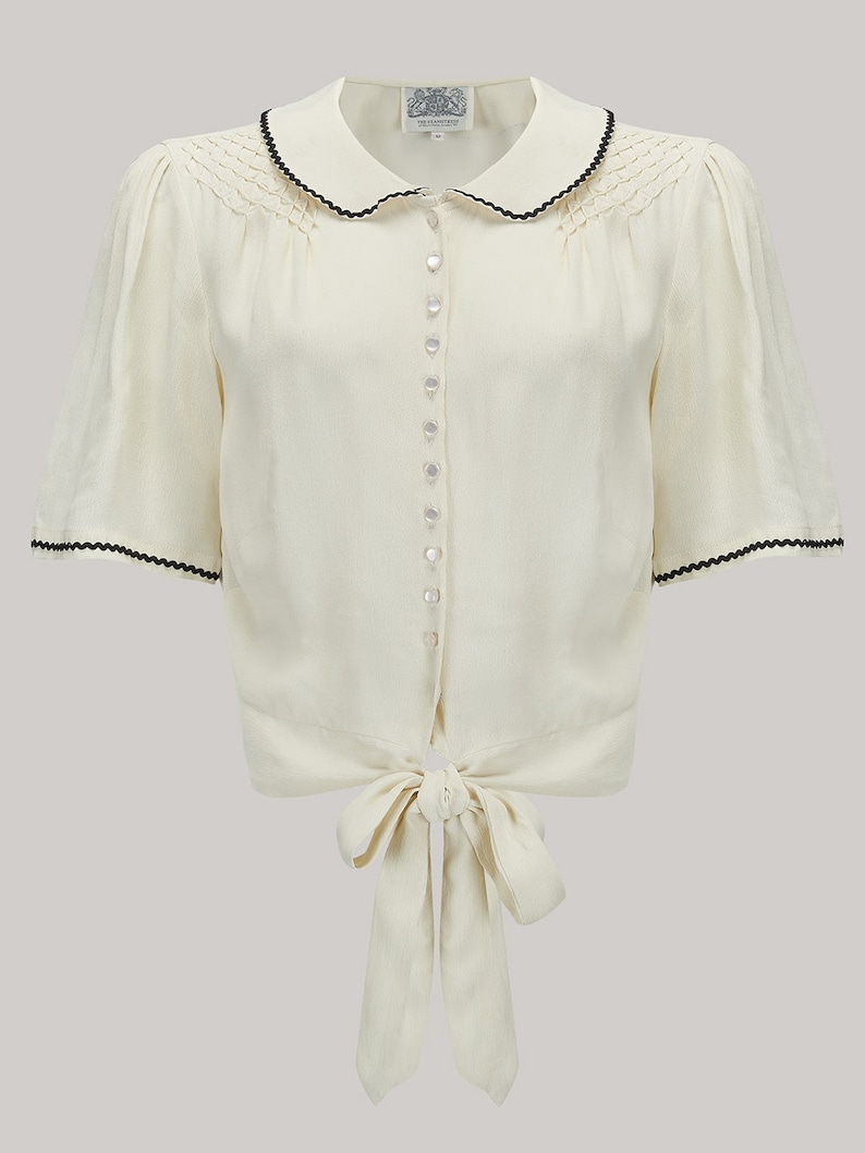 202b468338c441 Helen Blouse in Cream Black Ric-Rac by The Seamstress of