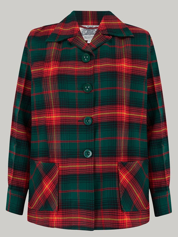 1940s Coats & Jackets Fashion History  Pearl Jacket in Red/Green Check by The Seamstress of Bloomsbury | Authentic Vintage 1940s Style $112.37 AT vintagedancer.com