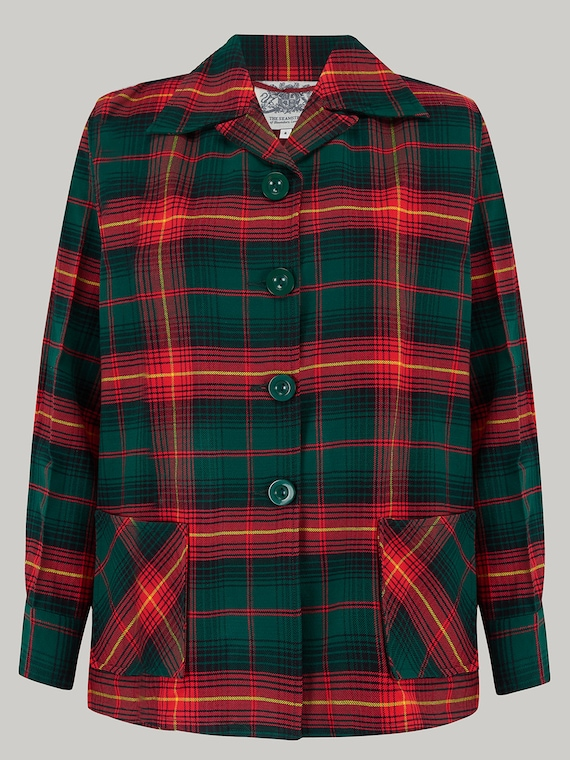 1940s Style Coats and Jackets for Sale  Pearl Jacket in Red/Green Check by The Seamstress of Bloomsbury | Authentic Vintage 1940s Style $112.37 AT vintagedancer.com