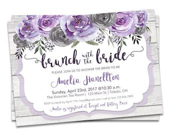 brunch bridal shower invitation cobalt blue purple bridal etsy
