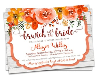 fall bridal brunch invitation fall floral bridal shower invitations brunch with the bride fall bridal shower invite autumn wedding shower
