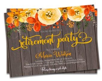 Retirement Party Invitation   Retirement Invitation   Rustic Retirement Party Invitation   Retirement Invite   Rustic Retirement Invite
