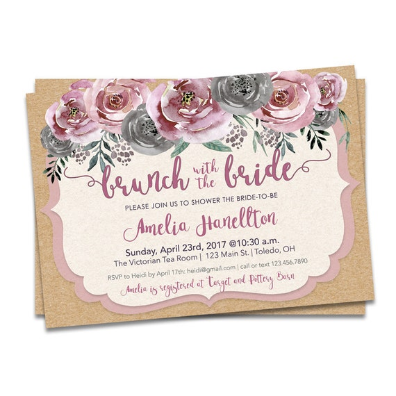 Pink floral bridal shower bridal brunch invitation brunch etsy image 0 filmwisefo