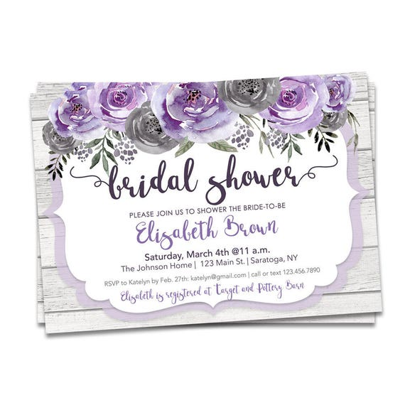 Bridal Shower Invitation Purple And Gray