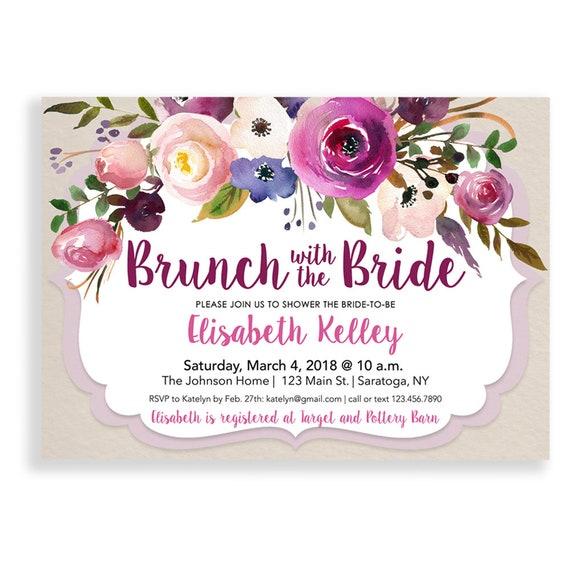 lavender pink bridal brunch invitation lavender pink bridal etsy